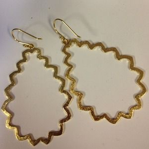 Jewelry - Gold Plated Matte Finish Squiggle Drop Earrings