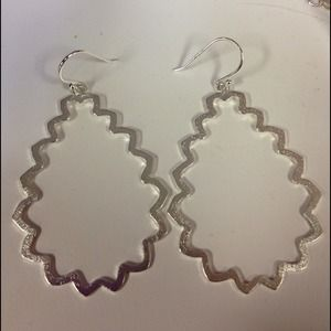 Jewelry - Silver Plated Matte Finish Squiggly Drop Earrings
