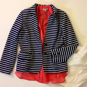 Jackets & Blazers - Navy & White Striped Blazer