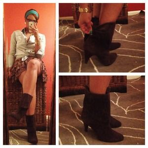 Style & Co Boots - Brown suede fold over booties/boots