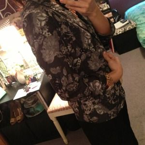Xhilaration Jackets & Coats - Gray Floral Open Blazer