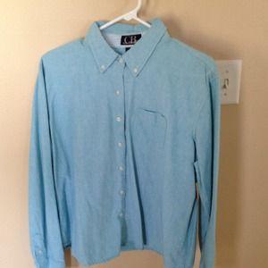 Oxford Shirt Sz XL L/S Aqua Blue 100% cotton