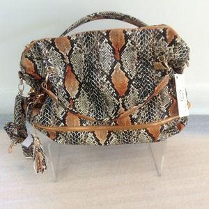 Eco friendly faux snake skin Buddha Bag