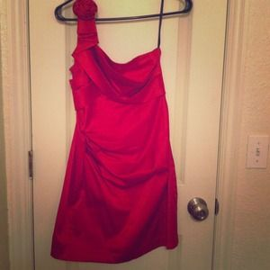 One shoulder red party dress