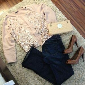 Rose 3/4 quarter inch sleeve sequin jacket.