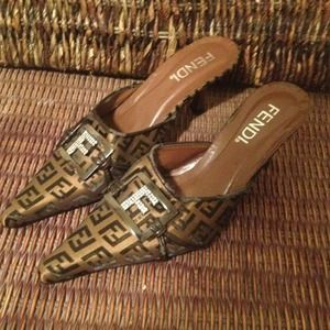 Brown fendi mules