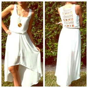Dresses - White High Low dress with cutout back Small