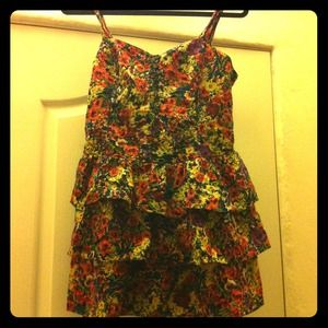Bundled Floral Print Mini Dress