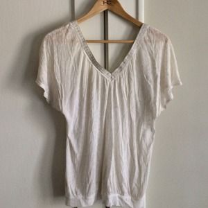 Free People sheer ivory metallic trim blouse