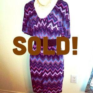*NWT* Sz L Chevron Scoop Neck dress