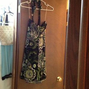 Green and black halter dress