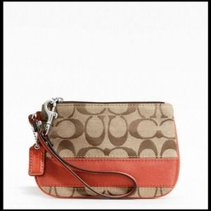 👝👝 NWT Coach Signature Small Wristlet Persimmon!