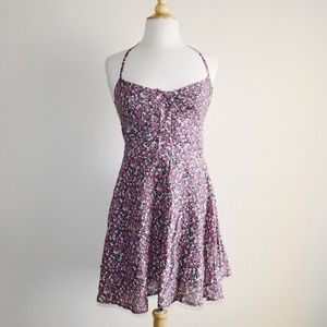 Floral Halter Summer Dress +AE hoodie