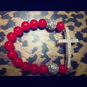 Jewelry - *Shamballa sideway cross bracelet* RED