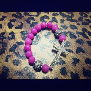 Jewelry - *Shamballa sideway cross bracelet* PINK