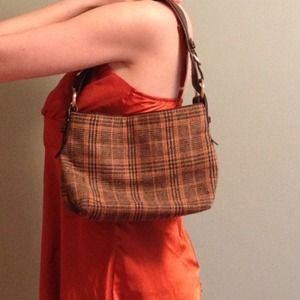 Orange and brown plaid purse