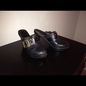 REDUCED! Authentic Coach Black Leather Clog Shoe