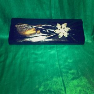 Black clutch with silver rhinestone appliqué