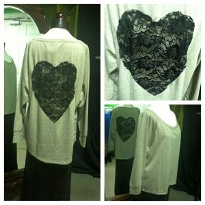 Tops - ✨SOLD✨ Open Heart Lace Back Top
