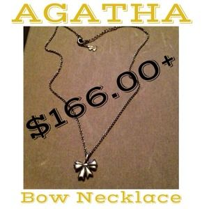 "$166+ AGATHA Sterling Silver ""Bow"" Necklace"