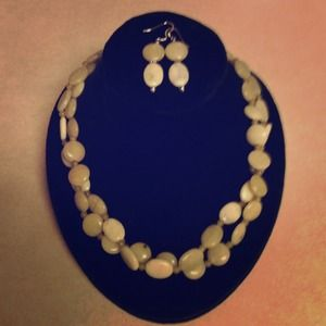 Green Jade necklace and earrings
