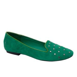 Green studded loafers