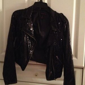 Sequinced faux leather jacket