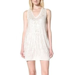 Magaschoni Sleeveless Sequin Sweater Dress Ivory
