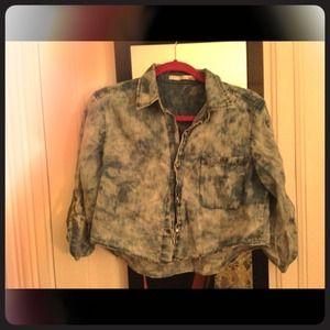Ellison bleached denim crop shirt Sz. small