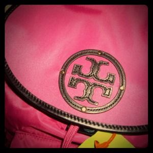 ❗*REDUCED* ❗Tory Burch pink & black nylon backpack