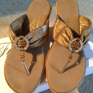 onyx Shoes - Buttery soft bronze leather and rhinestone sandal
