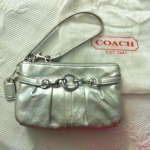 Coach Clutches & Wallets - Coach silver leather wristlet