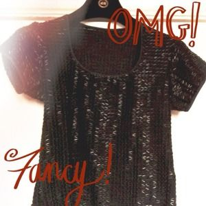 Tops - Black Fully Beaded Top