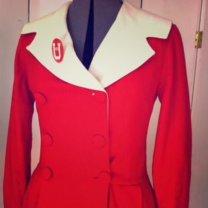 RED & White VINTAGE Wool Jacket • Super Cute!