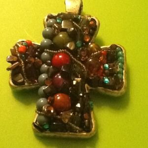 """Cross Beaded 3""""x 3""""Magnet Closure 4 any necklace"""