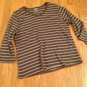 Hillard and Hanson Tops - Brown/White Striped Shirt