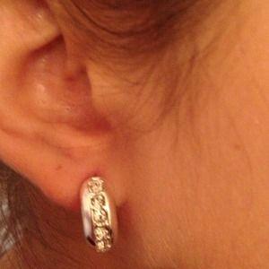 Jewelry - Silver Tone Huggy Crystal Earrings
