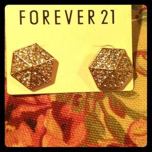 Hexagon gold post earrings