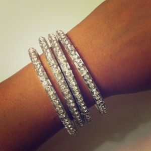 chamak by priya kakkar Jewelry - RESERVED rhinestone bangles and knuckle ring
