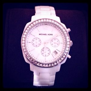 Michael Kors White Acrylic Watch With Crystals
