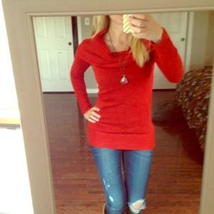 Beautiful red cowl-neck H & M sweater