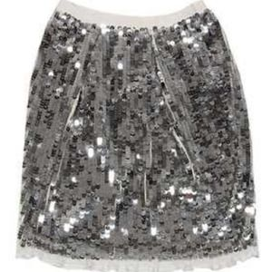 Valentino Silver Sequin Skirt