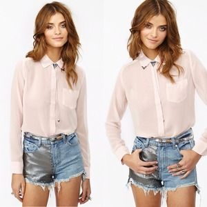 Nasty Gal Studded Collar Blouse