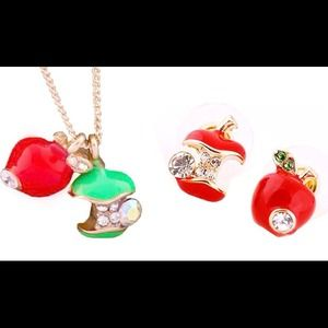 Red Apple Green Apple Crystal necklace & earrings