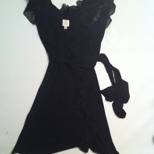 Suzy Chin Dresses & Skirts - Suzy Chin Black Chiffon Wrap Dress, Size 14