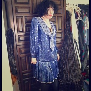 Dresses & Skirts - Camille vtg silk sequined sailor drop waist suit