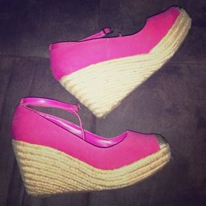 Shoes - Pink Wedges with Ankle Strap