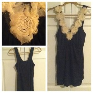 Forever 21 Black Tank With Cream Flower Accent