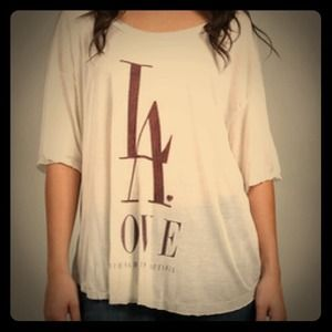 Brandy Melville LA Love White Tee L!