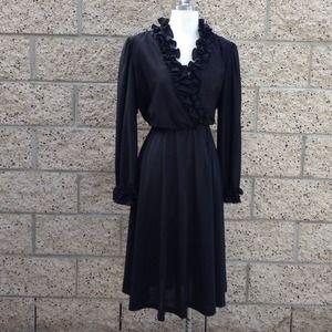 Vintage Black Sheer Ruffle Dress